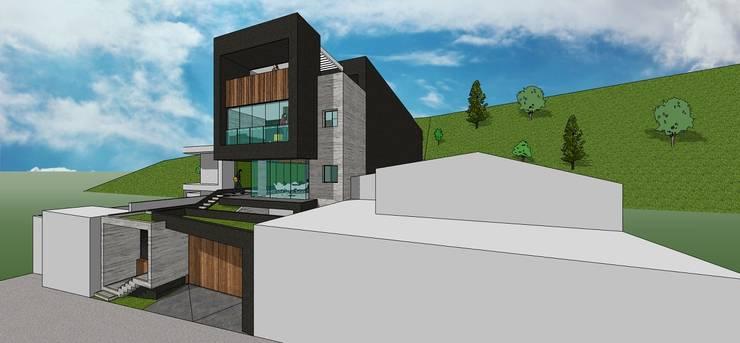 Fachada principal. Vista desde la calle: Casas de estilo  por MARATEA Estudio