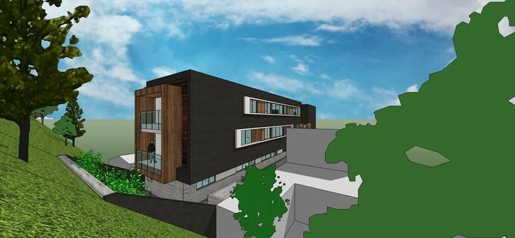 Vista posterior: Casas de estilo  por MARATEA Estudio