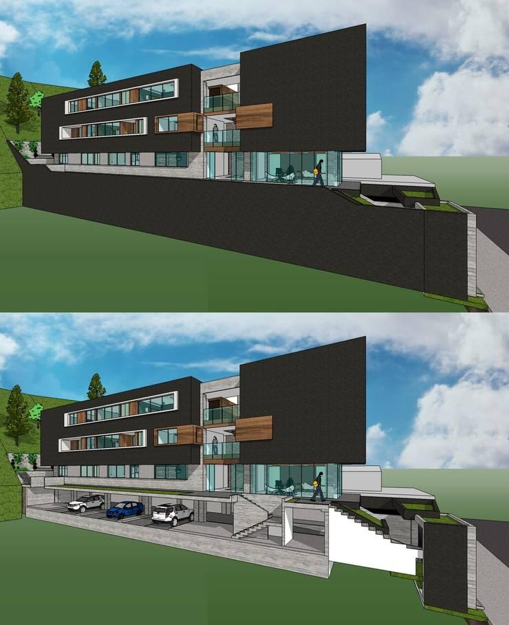 Detalle del semisótano de estacionamiento.: Casas de estilo  por MARATEA Estudio