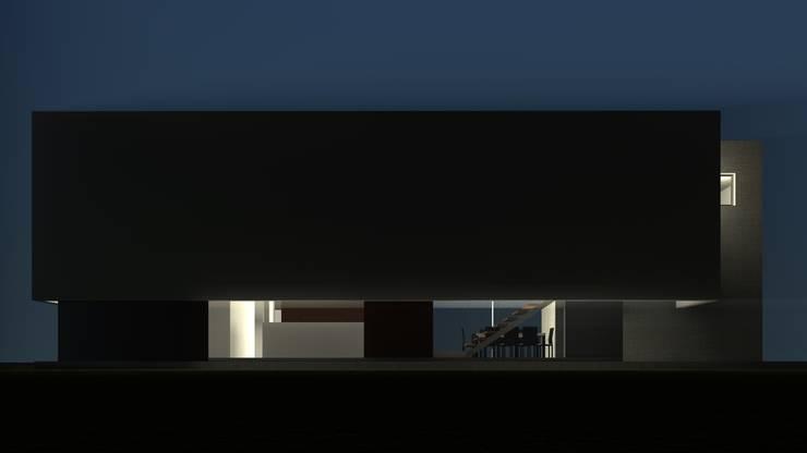 Fachada sur con voladizo: Casas de estilo  por Juan Pablo Muttoni,