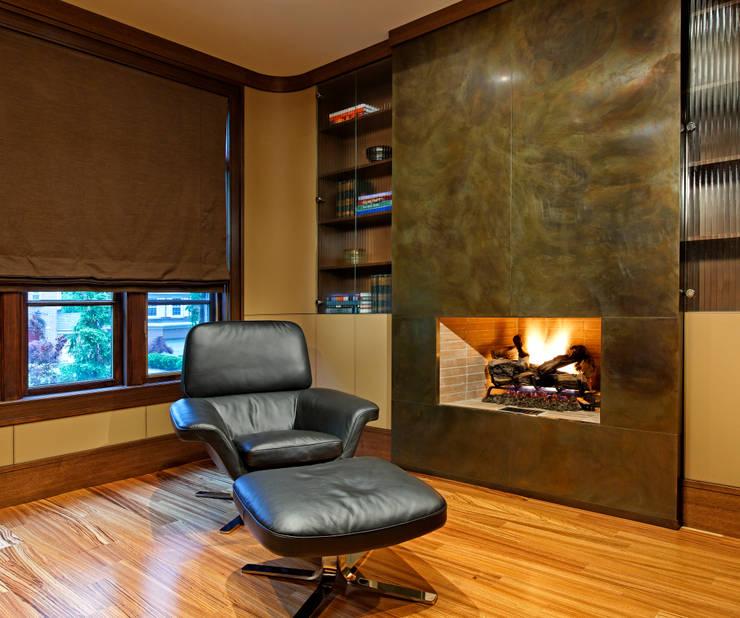 Office Fireplace:  Study/office by Douglas Design Studio