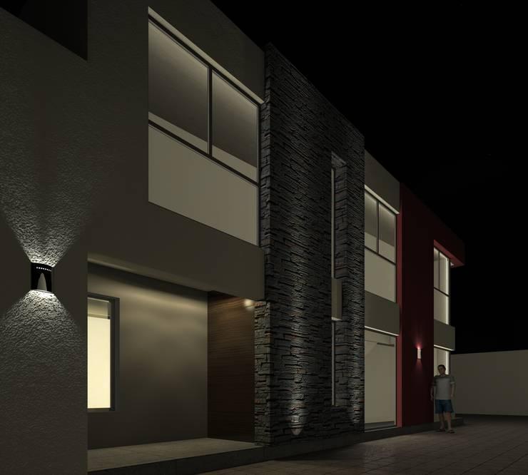 Alternativa 2 desde portón de ingreso.: Casas de estilo  por Juan Pablo Muttoni