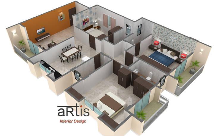 3D models: minimalistic Bedroom by ARTis Interior Design
