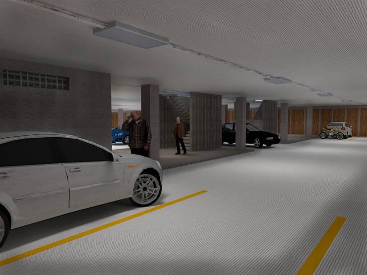 Sótano de parqueaderos: Garajes de estilo  por Project arquitectura s.a.s, Moderno