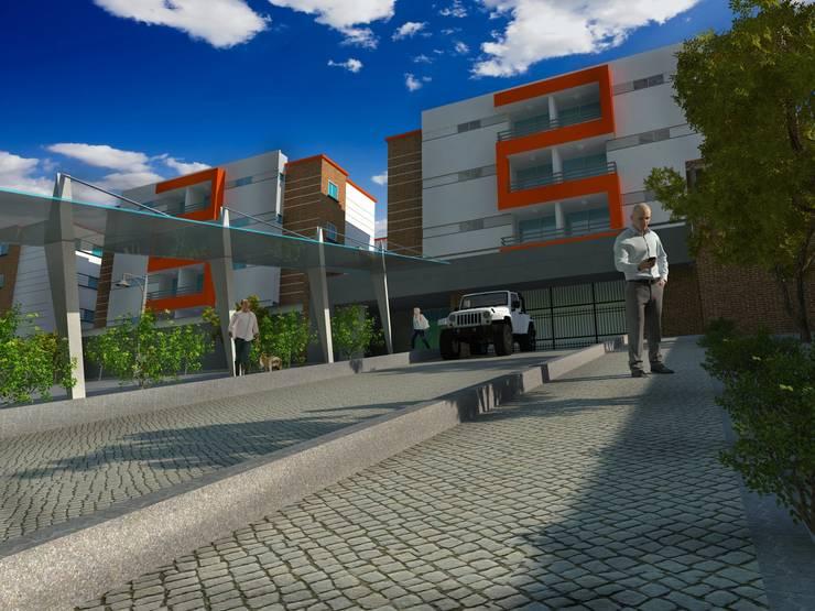 Fachada principal del proyecto, acceso: Casas de estilo  por Project arquitectura s.a.s, Moderno