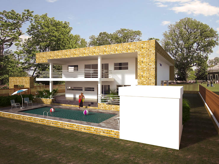 Fachada lateral y posterior: Casas de estilo  por Project arquitectura s.a.s
