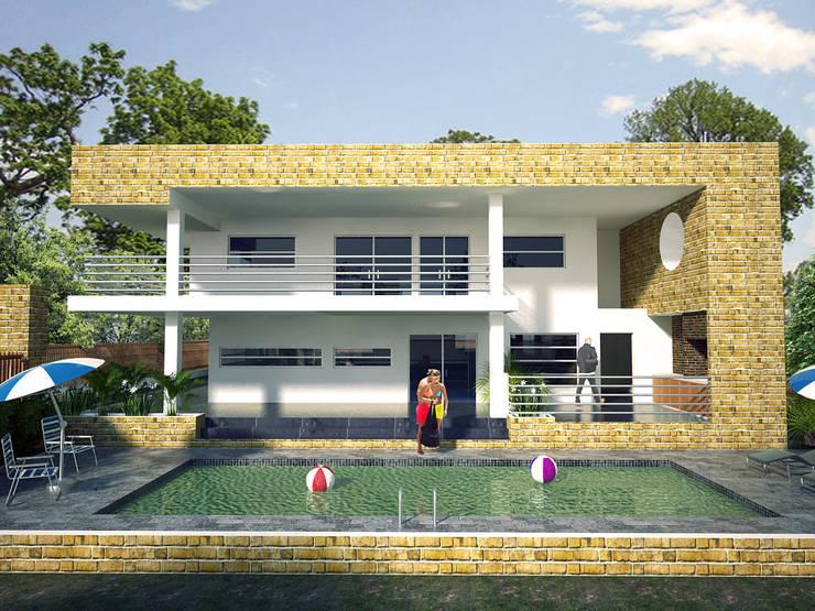 Toma fachada lateral, zona de piscina y BBQ: Casas de estilo  por Project arquitectura s.a.s