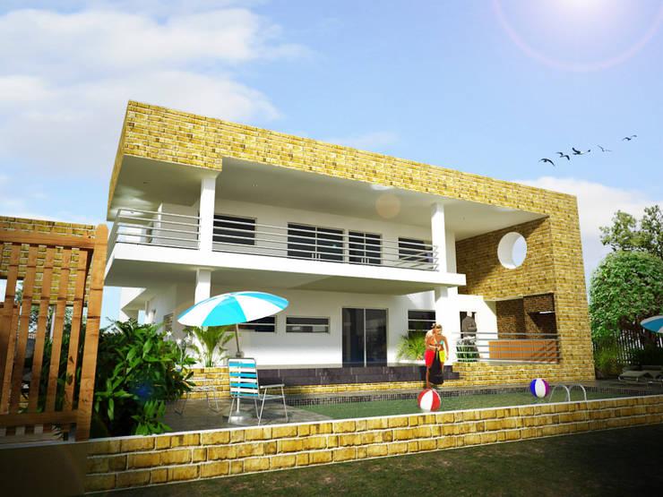 toma, fachada lateral (piscina, BBQ, solárium): Casas de estilo  por Project arquitectura s.a.s