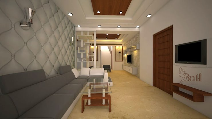 Residential-3BHK-2400sft:  Living room by BNH DESIGNERS