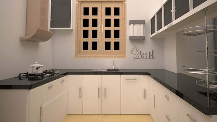 Residential-3BHK-2400sft:  Kitchen by BNH DESIGNERS