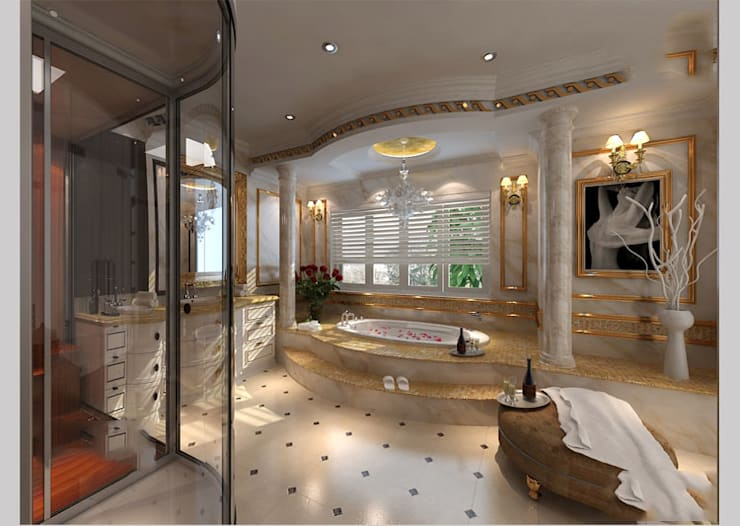 Biệt thự Tân cổ điển Ông Hòa – Hải Phòng:  Phòng tắm by CÔNG TY CP XÂY DỰNG VÀ KIẾN TRÚC ĐẤT VIỆT