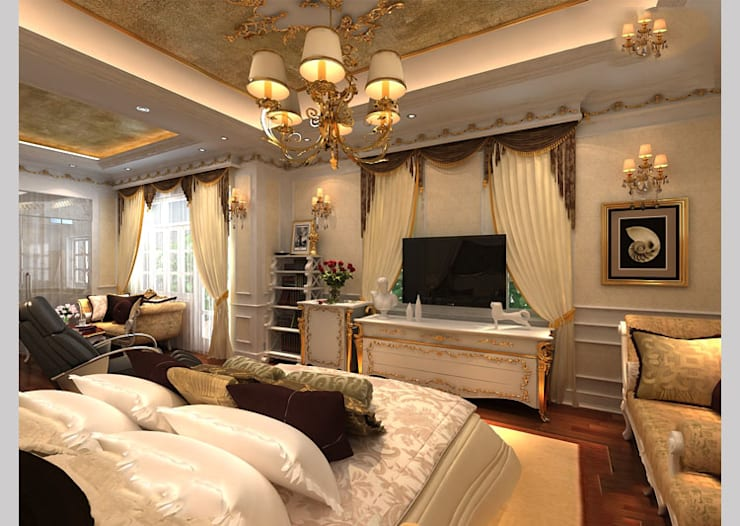 Biệt thự Tân cổ điển Ông Hòa – Hải Phòng:  Phòng ngủ by CÔNG TY CP XÂY DỰNG VÀ KIẾN TRÚC ĐẤT VIỆT