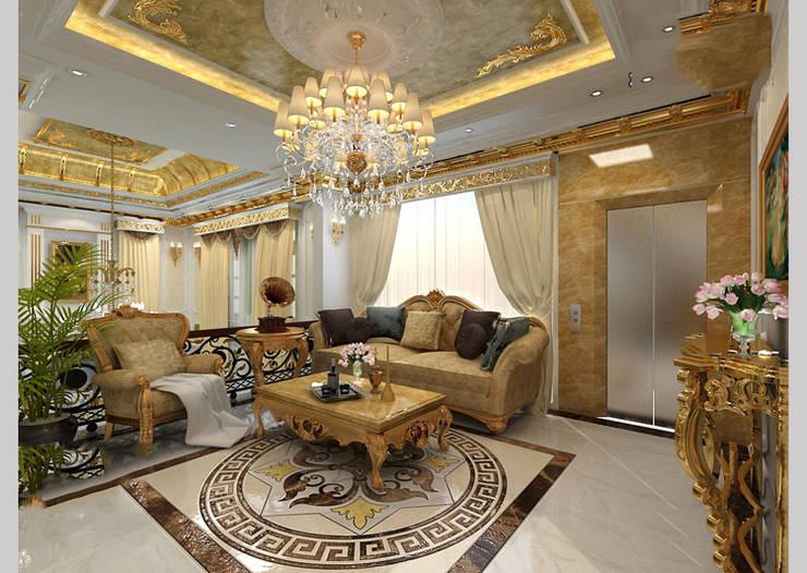 Biệt thự Tân cổ điển Ông Hòa – Hải Phòng:  Phòng khách by CÔNG TY CP XÂY DỰNG VÀ KIẾN TRÚC ĐẤT VIỆT