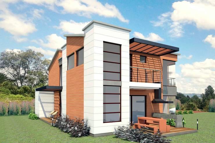 VIVIENDA ARCO IRIS: Casas de estilo  por G2 ESTUDIO, Rústico Ladrillos