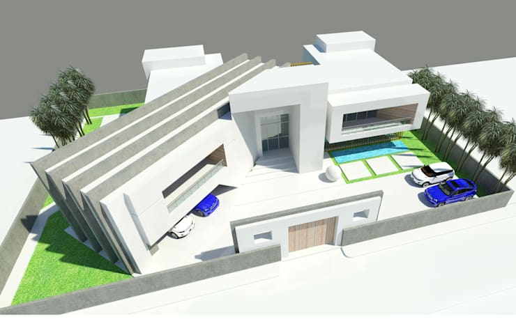 Aerial Perspective - Front:  Houses by Koncept Architects & Interior Designers,
