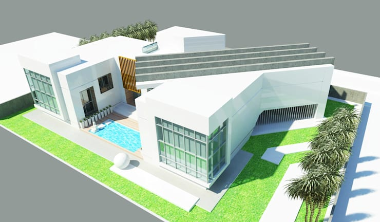 Aerial Perspective - Rear:  Houses by Koncept Architects & Interior Designers,