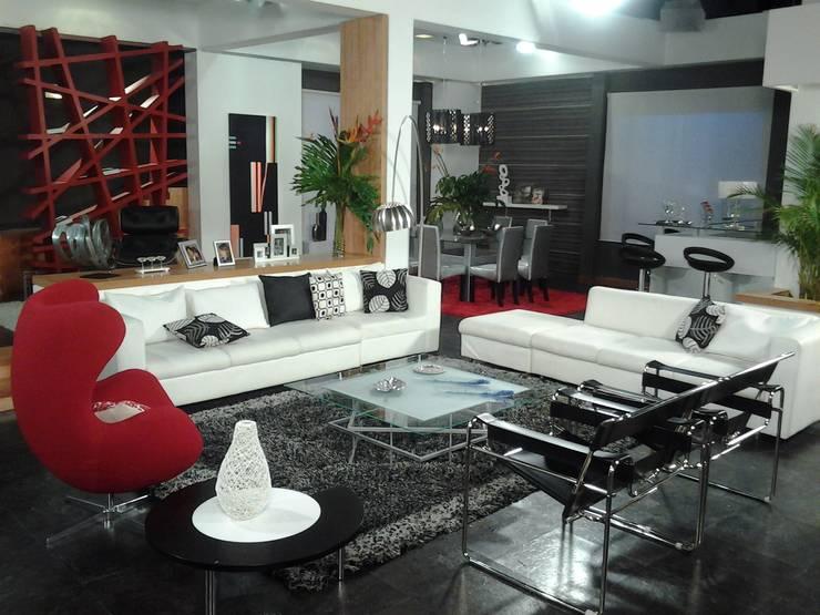 Decoración de sala y Acceso a aprtamento: Salas / recibidores de estilo  por ERGOARQUITECTURAS FL C.A.