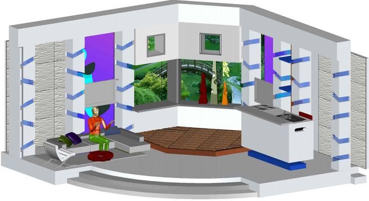 Decorado en estudio para programa de farandula: Salas de entretenimiento de estilo  por ERGOARQUITECTURAS FL C.A.