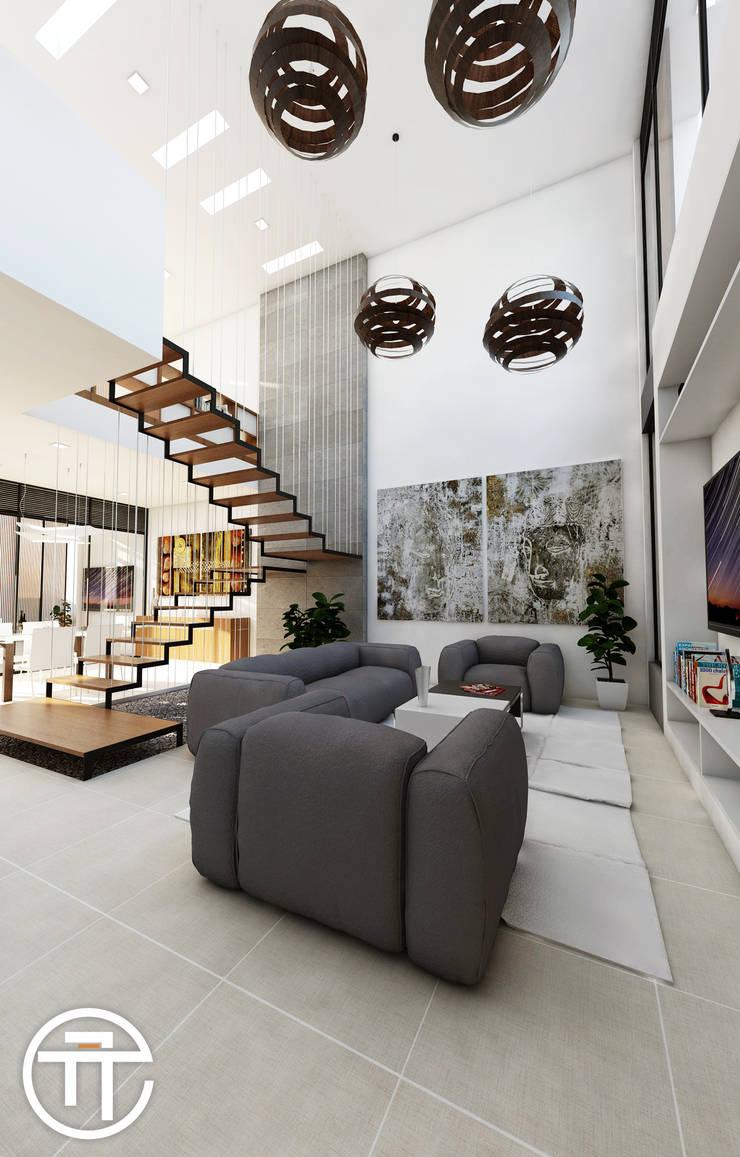 Sala de recibo en doble altura.:  de estilo  por Attica Arquitectura