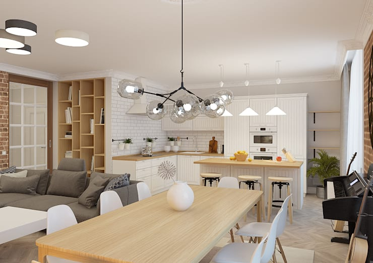 Cocinas de estilo escandinavo por Дизайн Студия 33