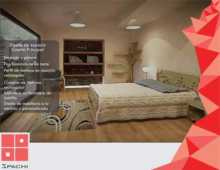 Diseño de Alcoba Principal : Habitaciones de estilo  por Spachi Arquitectura Comercial