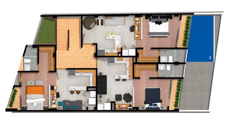 planta tipo: Casas de estilo  por ConstruKapital