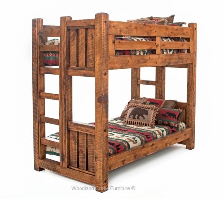 Timber Frame Wood Bunk Bed:  Bedroom by Woodland Creek