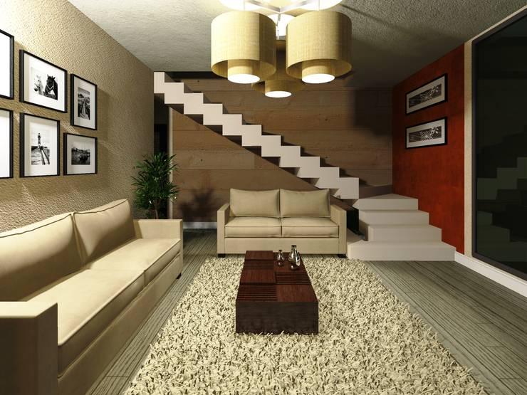 Salas / recibidores de estilo  por HC Arquitecto