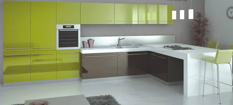 Feza Mutfak – Yeşil ve antrasit mutfak dolabı: tarz Mutfak