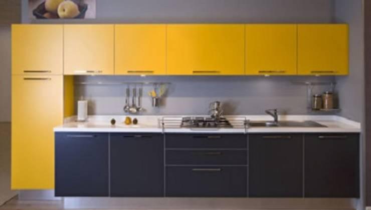 Feza Mutfak – Siyah sarı akrilik mutfak dolabı: modern tarz Mutfak