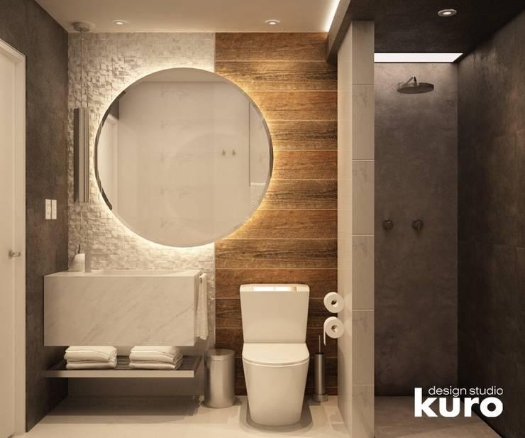 : Baños de estilo  por Kuro Design Studio