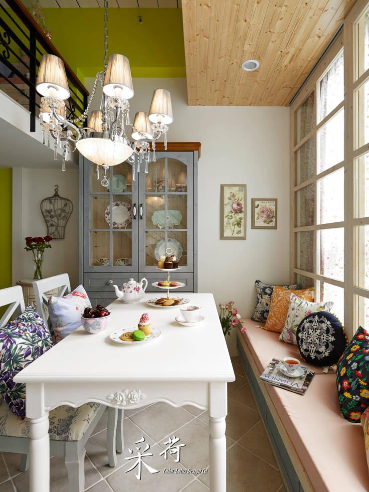 美式鄉村風-小坪數夾層屋:  餐廳 by 采荷設計(Color-Lotus Design)