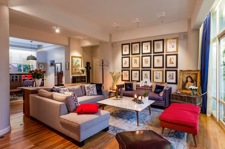 Departamento DV (2016): Salas de estilo ecléctico por Weber Arquitectos