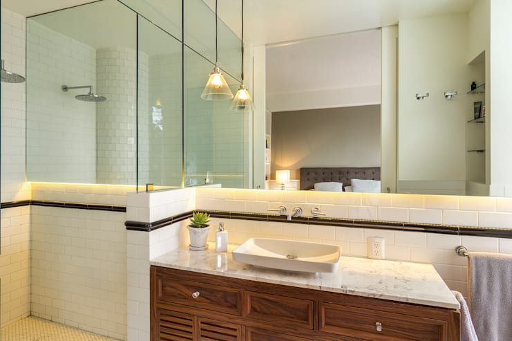 Baño recámara principal: Baños de estilo  por Weber Arquitectos