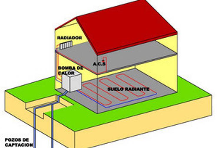 funcionamiento del sistema geotermico.: Casas de estilo  por Family Houses,