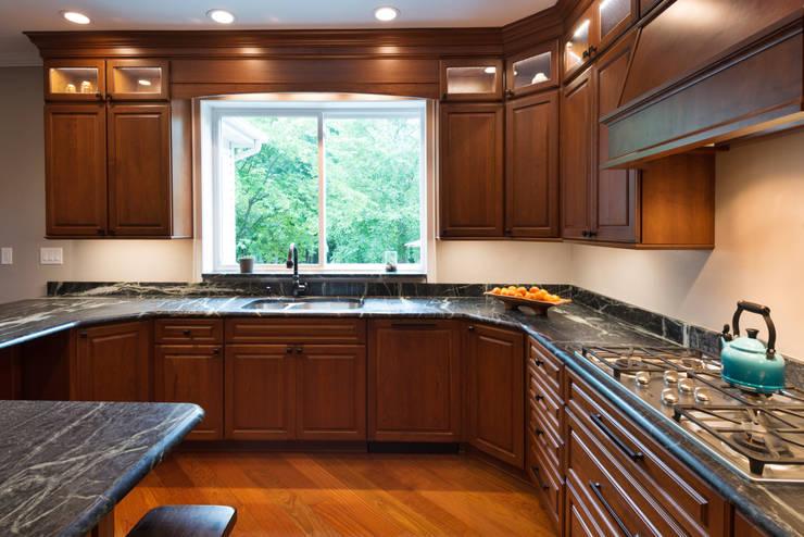 Bishop Medium Cherry Raised Panel Kitchen:  Kitchen by Main Line Kitchen Design
