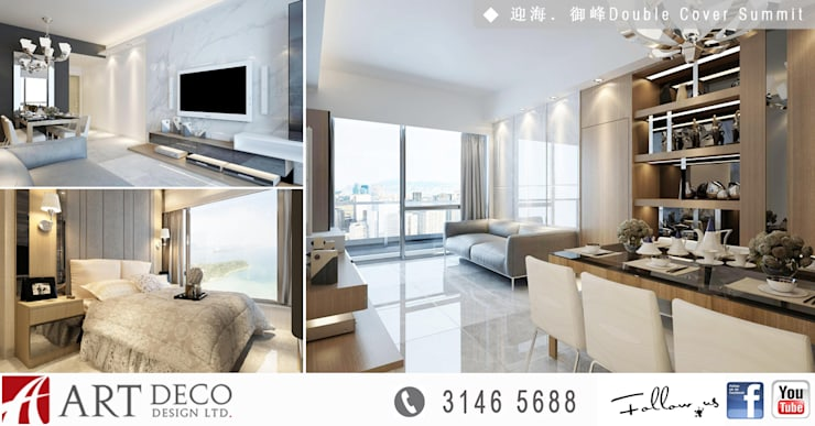 Park YOHO Venezia:  Living room by Art Deco Design Ltd.