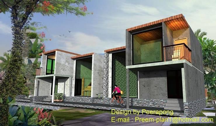 บ้านปูนขัดมัน:  บ้านและที่อยู่อาศัย by รับเขียนแบบบ้าน&ออกแบบบ้าน