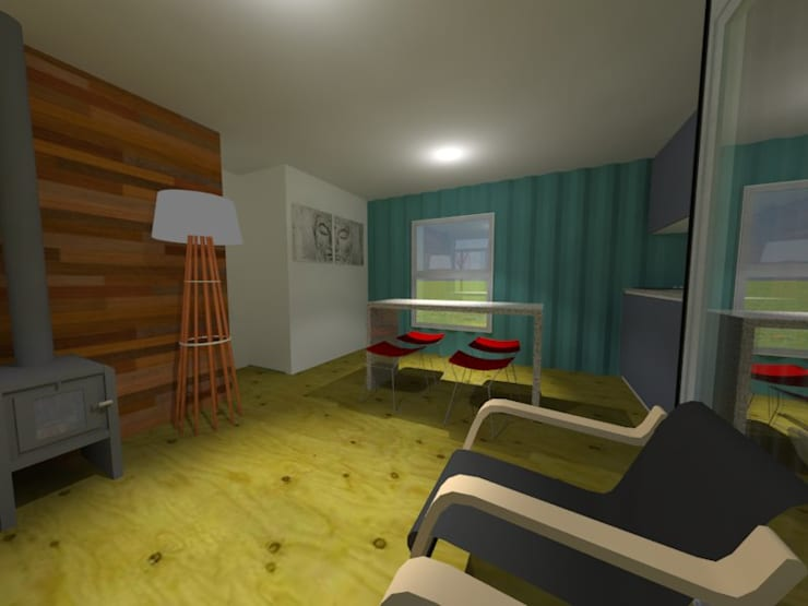 Viv. container: Livings de estilo  por CAB Arquitectura ccab.arquitectura@gmail.com