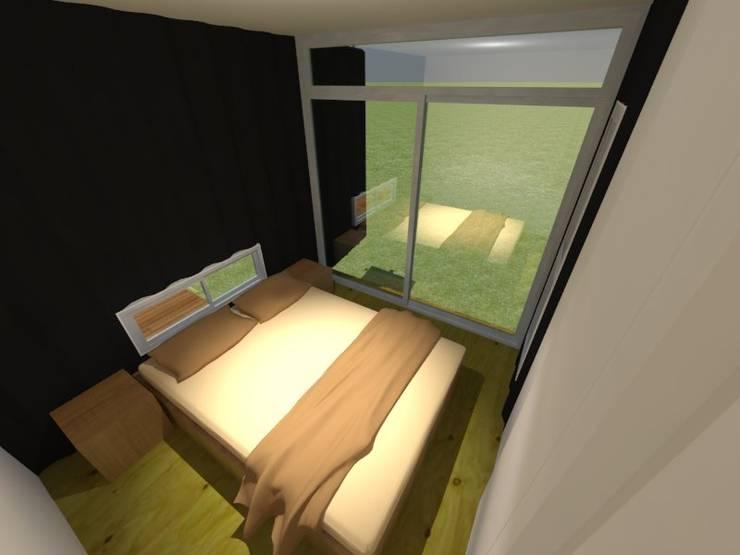 Viv. container: Dormitorios de estilo  por CAB Arquitectura ccab.arquitectura@gmail.com