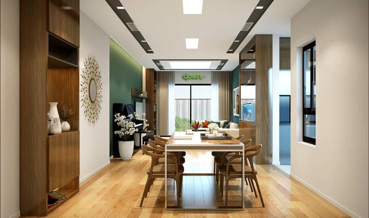 Phòng khách liên thông phòng ăn:   by Công ty TNHH Thiết Kế và Ứng Dụng QBEST