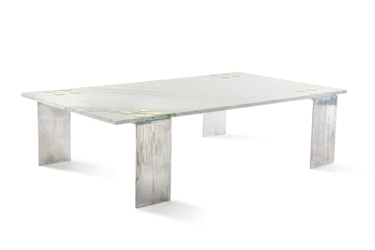 Marble patch coffee table:  Living room by Egg Designs CC