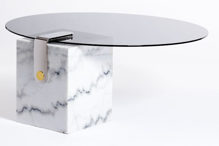 Marble patch round coffee table:  Living room by Egg Designs CC
