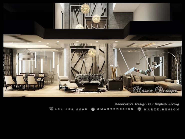 3 Versions of 1st 3D Perspective for Living Room and Dining Room:   by Marze Design