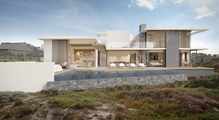 Melkbos house as seen from beach :  Patios by GSQUARED architects,
