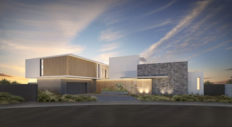 Street Facade, Melkbos House:  Houses by GSQUARED architects,