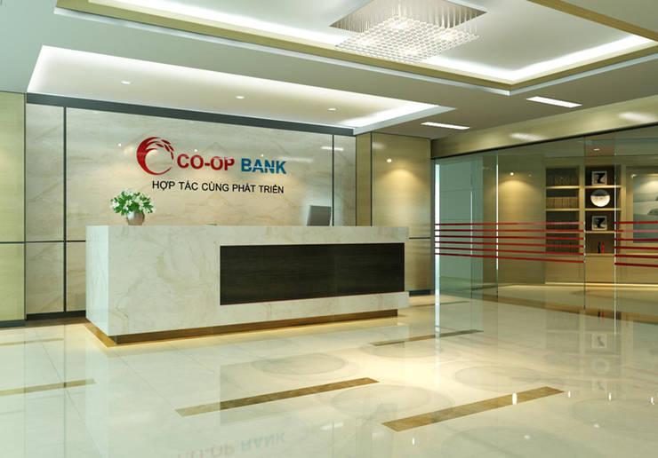 Thiết kế thi công nội thất văn phòng ngân Hàng Co-op Bank:  Garages & sheds by Nội Thất TNC
