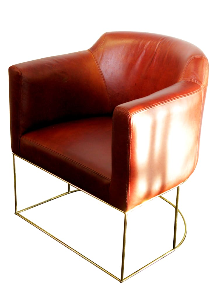 Leather tub dining chair:  Dining room by Egg Designs CC
