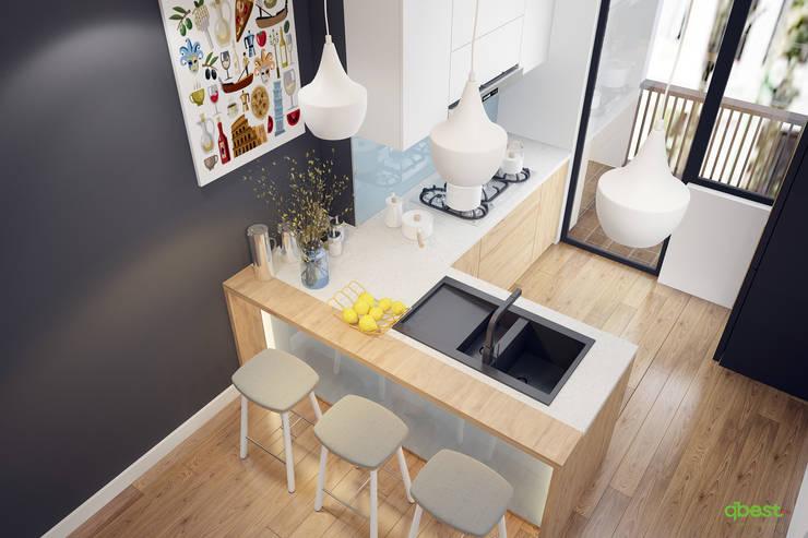 Phương án dùng quầy:  Kitchen by Công ty TNHH Thiết Kế và Ứng Dụng QBEST