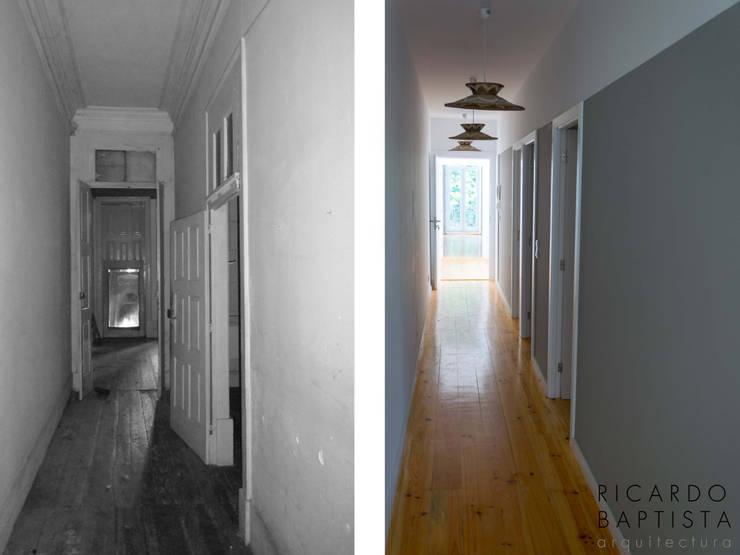 Corredor (antes e depois):   por Ricardo Baptista, Arquitecto